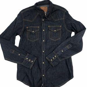 True Religion Jake Snap Front Casual Denim Shirt